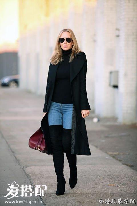 黑色过膝长靴的时尚搭配技巧