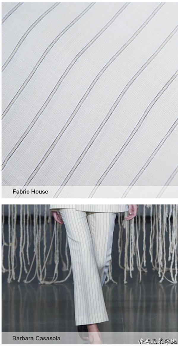 棉和真丝等平纹织物为主要面料,涤纶和纤维胶为轻质的法兰绒增添了褶裥的立体感和透气性。经典的细条纹和棋盘格在2017春夏以不同大小或透明度不一的纱线制作而成。阴影织物打造朦胧的错视效果。色彩方面,首选海军蓝、灰色、淡褐色和黑色等雅致色泽,朴素淡雅简洁大方,丹宁风蓝色和浅蓝色也即将成为传统粗花呢的新趋势。   粉色平纹织物    灰白双色    阴影灰色    休闲棋盘格    夏日粗花呢    都市经典风   【推荐阅读】